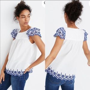 Madewell embroidered story blouse sz.0